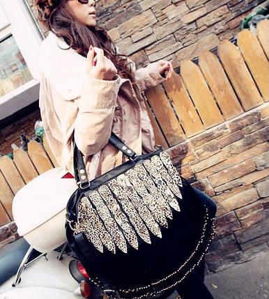 Велика жіноча сумка з бахромою, фото 2