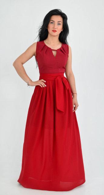 Длинное выпускное платье бордового цвета (размеры: 44)