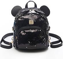 Городской рюкзак с пайетками и ушками медвежонка, фото 2