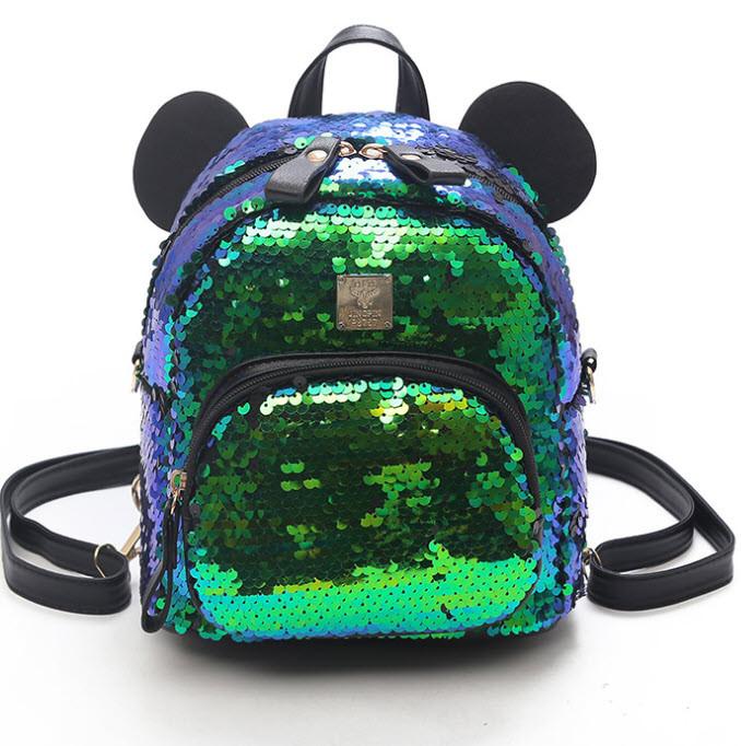 Городской рюкзак с пайетками и ушками медвежонка