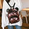 Городской рюкзак с пайетками и ушками медвежонка, фото 3