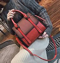 Элегантная женская сумка делового стиля под замш, фото 2