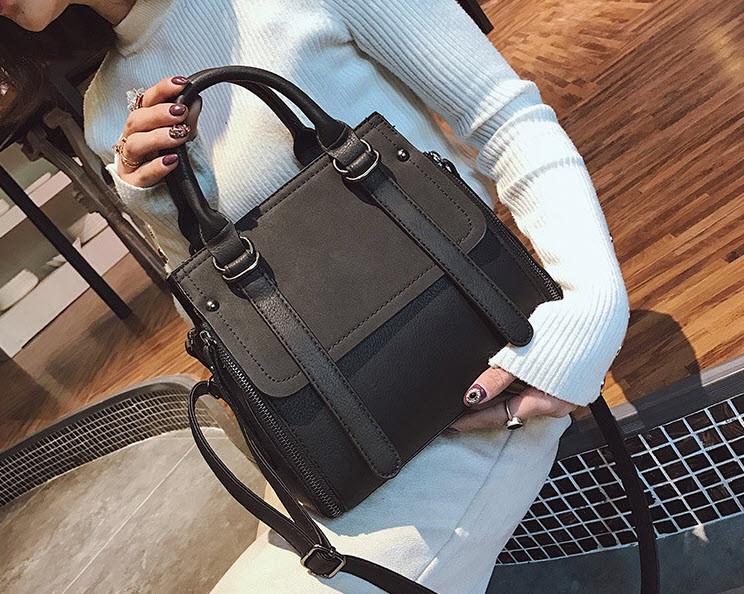 Элегантная женская сумка делового стиля под замш