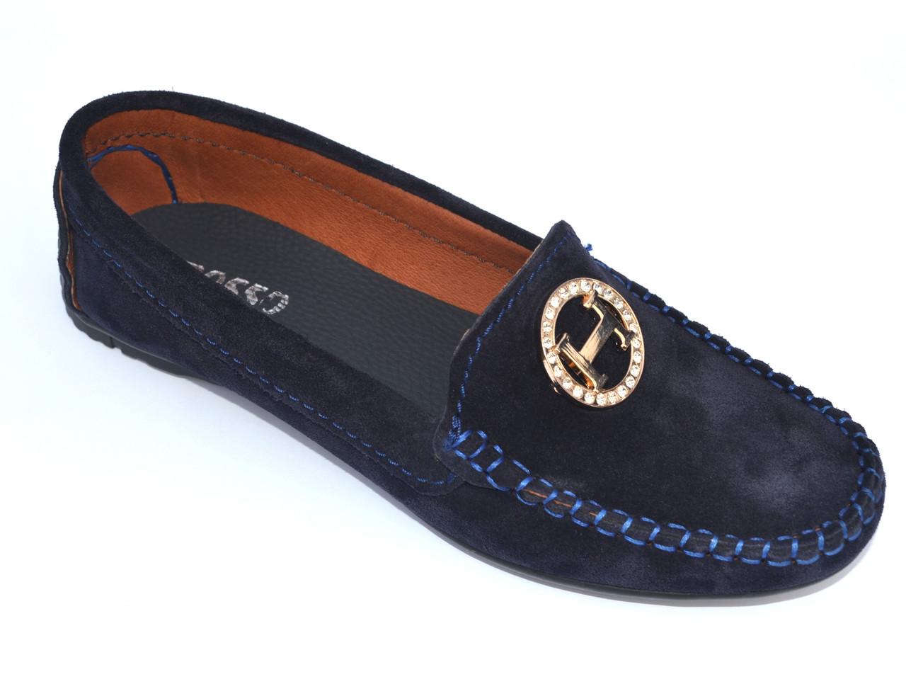 """Мокасины замшевые синие женская обувь большой размер Ornella Blu Hard Vel by Rosso Avangard BS цвет """"Глубина"""""""
