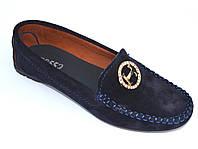 "Мокасины женские замшевые большие размеры обуви Ornella Blu Hard Vel by Rosso Avangard BS цвет синий ""Глубина"""