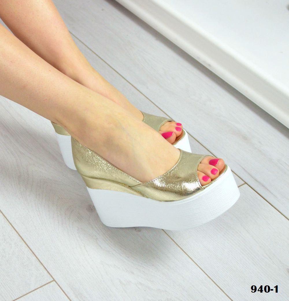 Женские туфли на платформе с открытым носочком (золото)