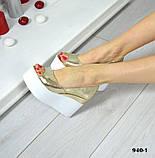 Женские туфли на платформе с открытым носочком (золото), фото 3