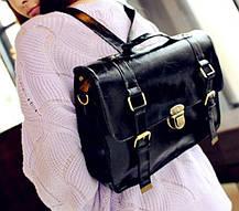Лакированная деловая сумка рюкзак трансформер, фото 3