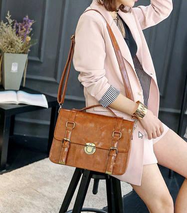 Лакированная деловая сумка рюкзак трансформер, фото 2