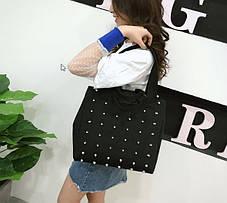 Большая тканевая сумка с заклепками, фото 2