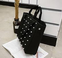 Большая тканевая сумка с заклепками, фото 3