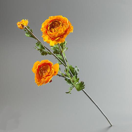 Цветок искусственный ранункулюс желтый.