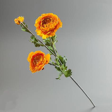 Цветок искусственный ранункулюс желтый., фото 2