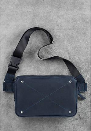 Кожаная сумка поясная темно-синяя DropBag, фото 2