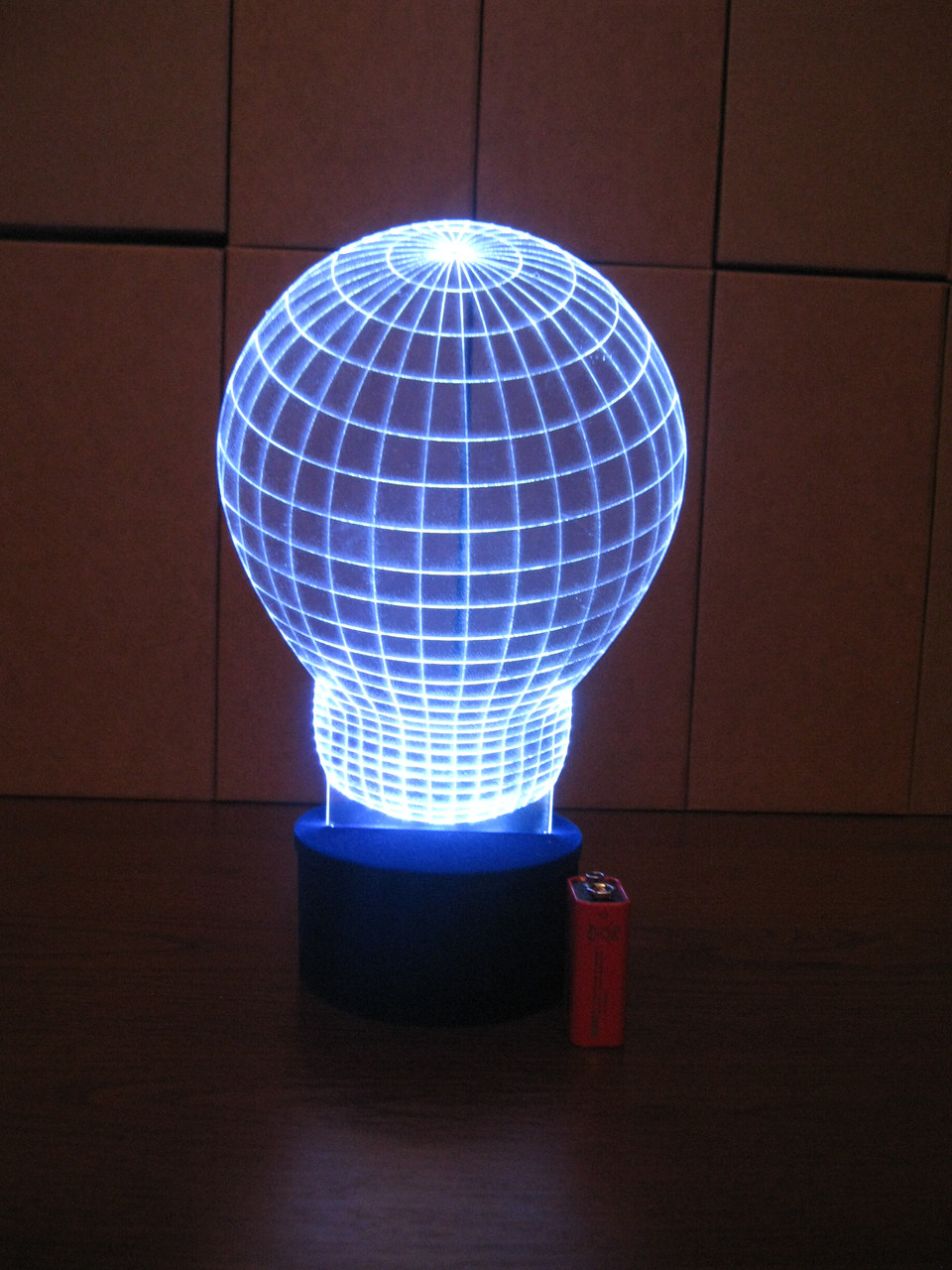 3d-светильник Лампочка, 3д-ночник, несколько подсветок (на батарейке)