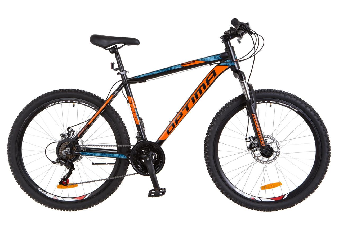 """Горный велосипед 26"""" Optimabikes MOTION DD 2018 (черно-оранжевый с синим (м))"""