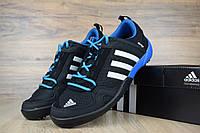 Кроссовки мужские для лета и туризма Adidas Climacool Daroga черные с синим реплика+живые фото