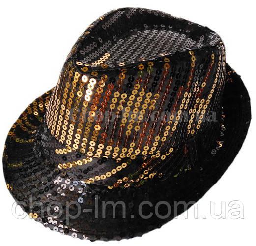 """Шляпа """"Диско"""" (черная с золотистыми блестками)"""