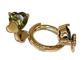 Серьги детские, фирма Xuping.Цвет: позолота. Камни: оливковый циркон. Высота серьги: 1 см. Ширина: 8 мм.