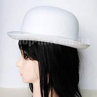Шляпа-котелок (фетр, белая)