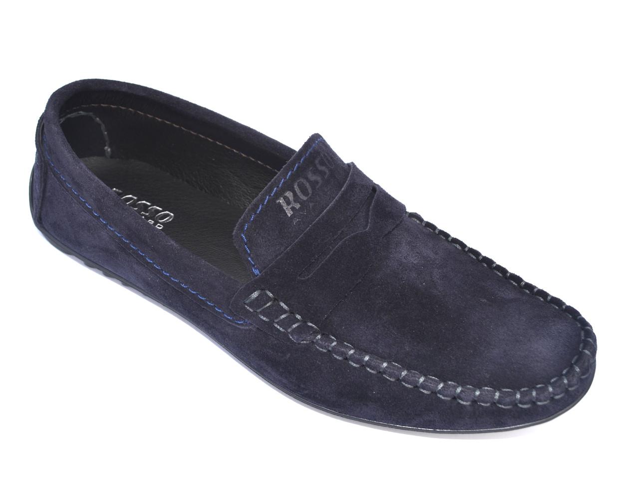 Мокасины замшевые синие мужская обувь больших размеров Rosso Avangard M4 Blu Night BS
