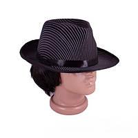 """Шляпа Гангстера """"Мафиози"""" ,черная полосатая"""