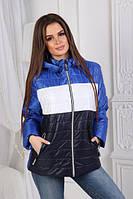 Демисезонная трёхцветная куртка с капюшоном синий, белый, электрик