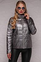 Женская деми куртка больших размеров из PU кожи графит