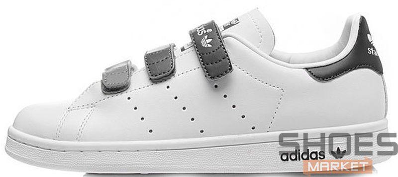Женские кроссовки Adidas Stan Smith CF Velcro White Black, Адидас Стен Смит