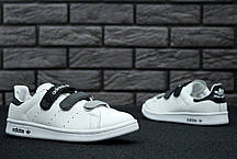 Женские кроссовки Adidas Stan Smith CF Velcro White Black, Адидас Стен Смит, фото 3