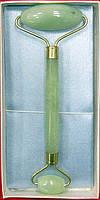 Массажер нефритовый двойной валик с ручкой в футляре