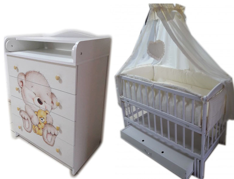 """Акция! Комплект """"Малыш с комодом фотопечать"""" белый: Комод+ кроватка маятник+ матрас кокос + постель"""