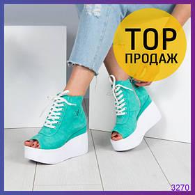 Женские летние ботинки с открытым носком, мятного цвета / ботинки женские замшевые, на платформе, стильные