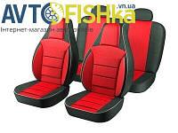 Чохли на сидіння PILOT Daewoo Lanos (кожзам+тканинна вставка) Червоні, фото 1