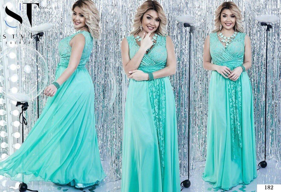 e2759e9ed81 ... Платье длинное вечернее декольте глубокое гипюр+сетка+атлас+шифон  48-50