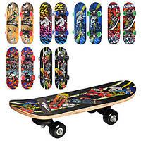 Скейт MS 0324-1.Скейт детский, размер доски 43-13см (7 слоев китайского клена), верх рисунок, пласти
