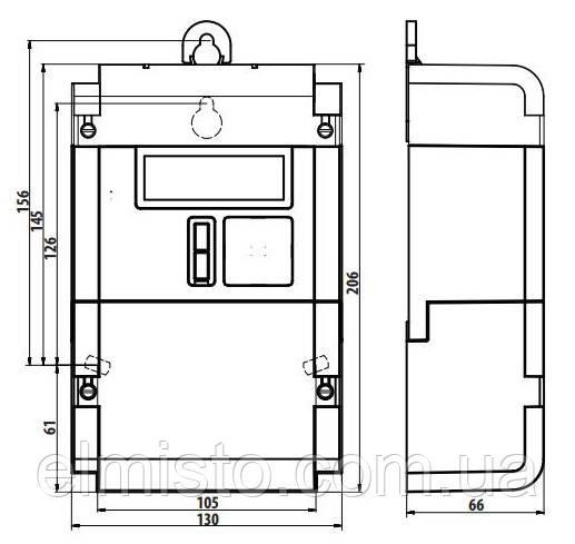 Габаритный чертеж модульного электросчетчикаISKRA AM550-TD2.1