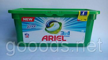 Капсулы для стирки Ariel универсальные 3 в 1 с Lenor, 28 шт