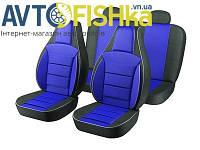 Чохли на сидіння PILOT ВАЗ 2110 (кожзам+тканинна вставка) Сині, фото 1