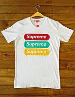 Мужская модная футболка Supreme белая (реплика), фото 1