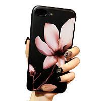 Черный чехол для Iphone 7, цветы
