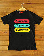 Черная футболка на подростка Supreme (реплика), фото 1