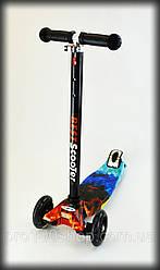 Самокат детский Best scooter MAXI-PRINT Синий огонь