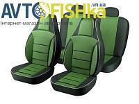 Чохли на сидіння PILOT  Універсальні (кожзам+тканинна вставка) Зелені