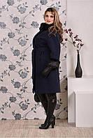 Кашемировое пальто с оригинальным воротом