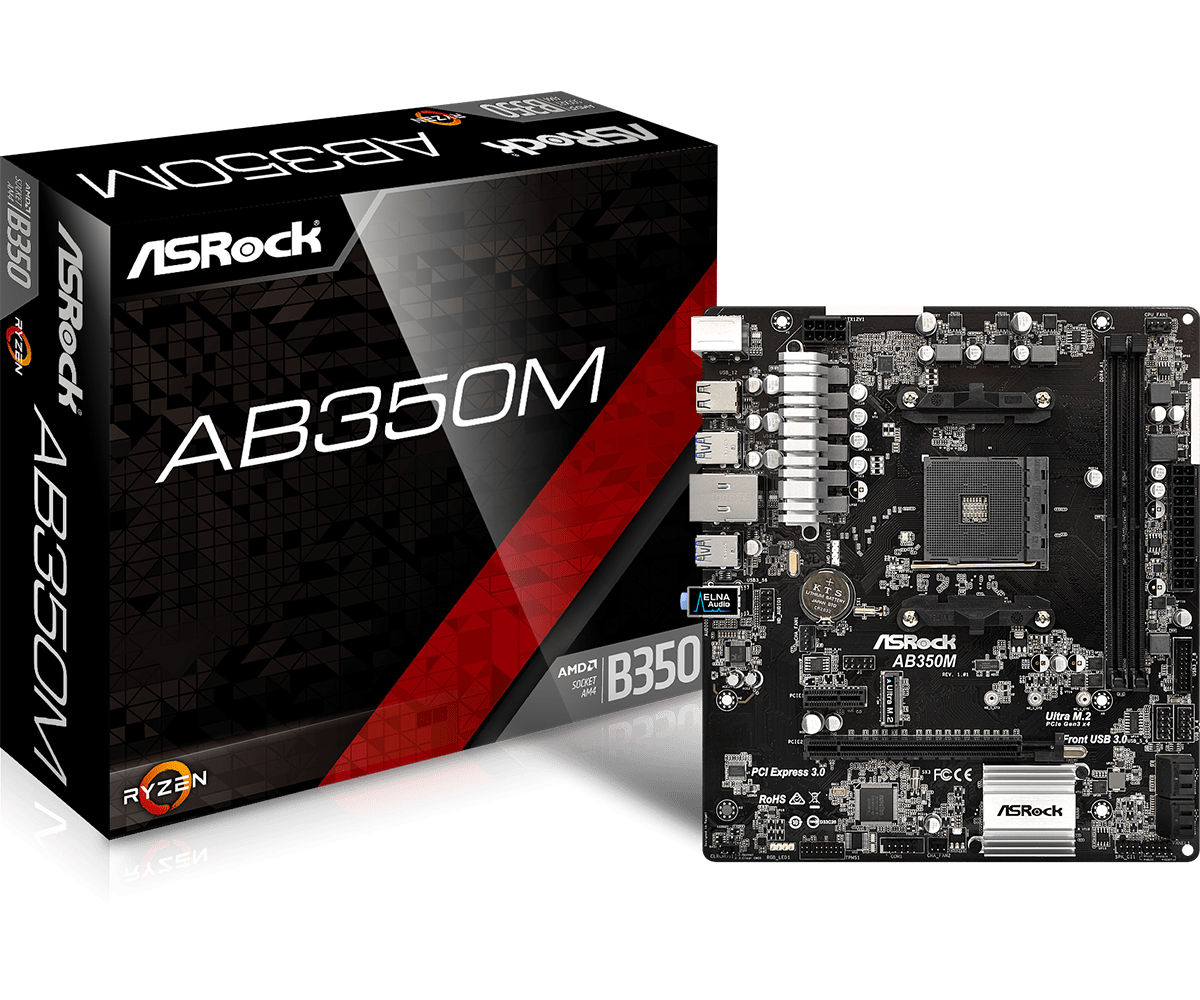Материнская плата ASRock AB350M (sAM4/B350/VGA/PCI-E/SATA III)