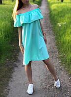 Платье женское лето софт Волан (универсал 42/46) (цвет ментол) СП