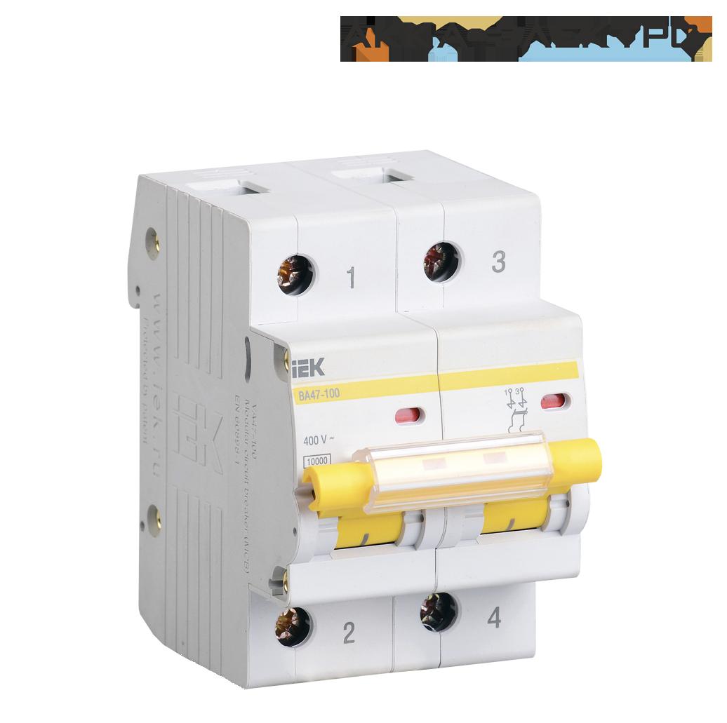 Автоматичний вимикач ВА47-100 2P 100A IEK