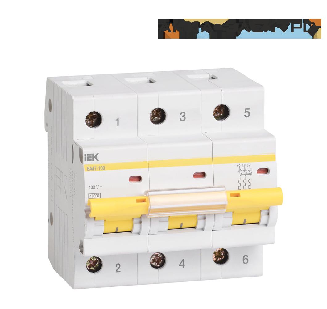 Автоматичний вимикач ВА47-100 3P 100A IEK