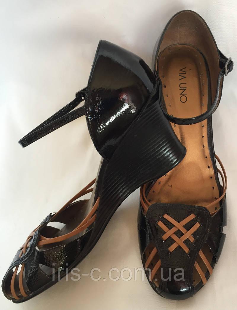 Босоножки женские, Via Uno черные, натуральная лакированная кожа, большой размер 41